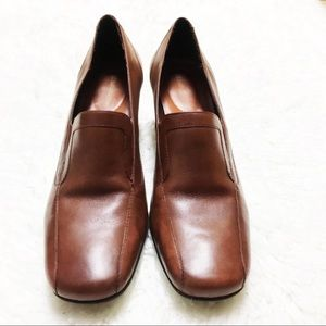 Naturalized Cognac Brown Square Toed Heeled Loafer